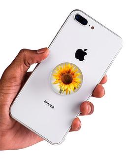 bílý popsocket s potiskem slunečnice náhled na telefonu