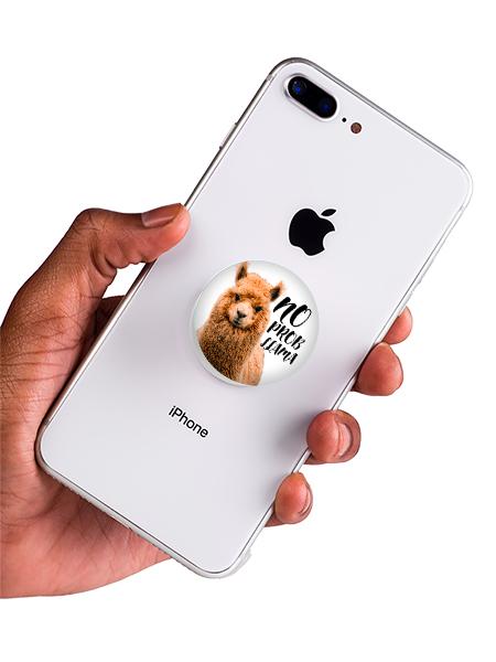 bílý popsocket s potiskem lama náhled na telefonu