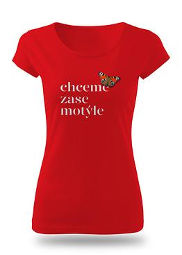 červené tričko s motivem Motýle