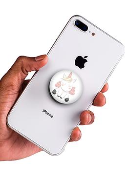 bílý popsocket s potiskem jednorožec náhled na telefonu