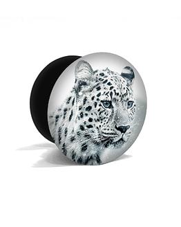 bílý popsocket s potiskem sněžný leopard