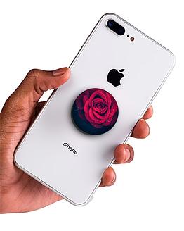 bílý popsocket s potiskem růže náhled na telefonu